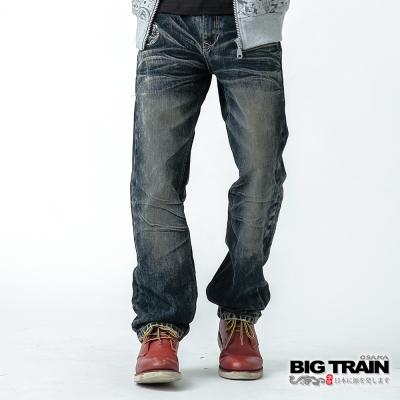 BIG TRAIN 怒火鍾馗垮褲-男-中藍