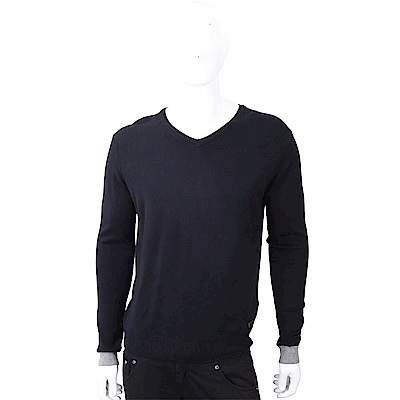TRUSSARDI V領撞色細節皮革標夜藍色針織衫
