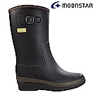 Moonstar日本 女 內增高中筒雨靴(黑)