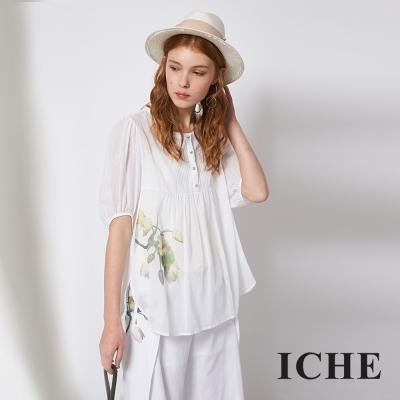 ICHE 衣哲 文藝風藝術感印花造型上衣