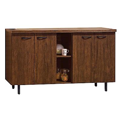 品家居 瑪麗安5尺胡桃木紋四門餐櫃下座-150x45.5x85cm免組