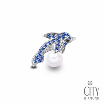 City Diamond引雅【東京Yuki系列】日系水藍海豚/領帶/別針/徽章(白K)