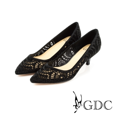 GDC-性感水鑽寶石沖孔真皮尖頭高跟鞋(婚鞋)-黑色