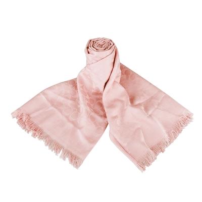 COACH 經典C LOGO造型棉質蠶絲披巾/圍巾(淡粉)