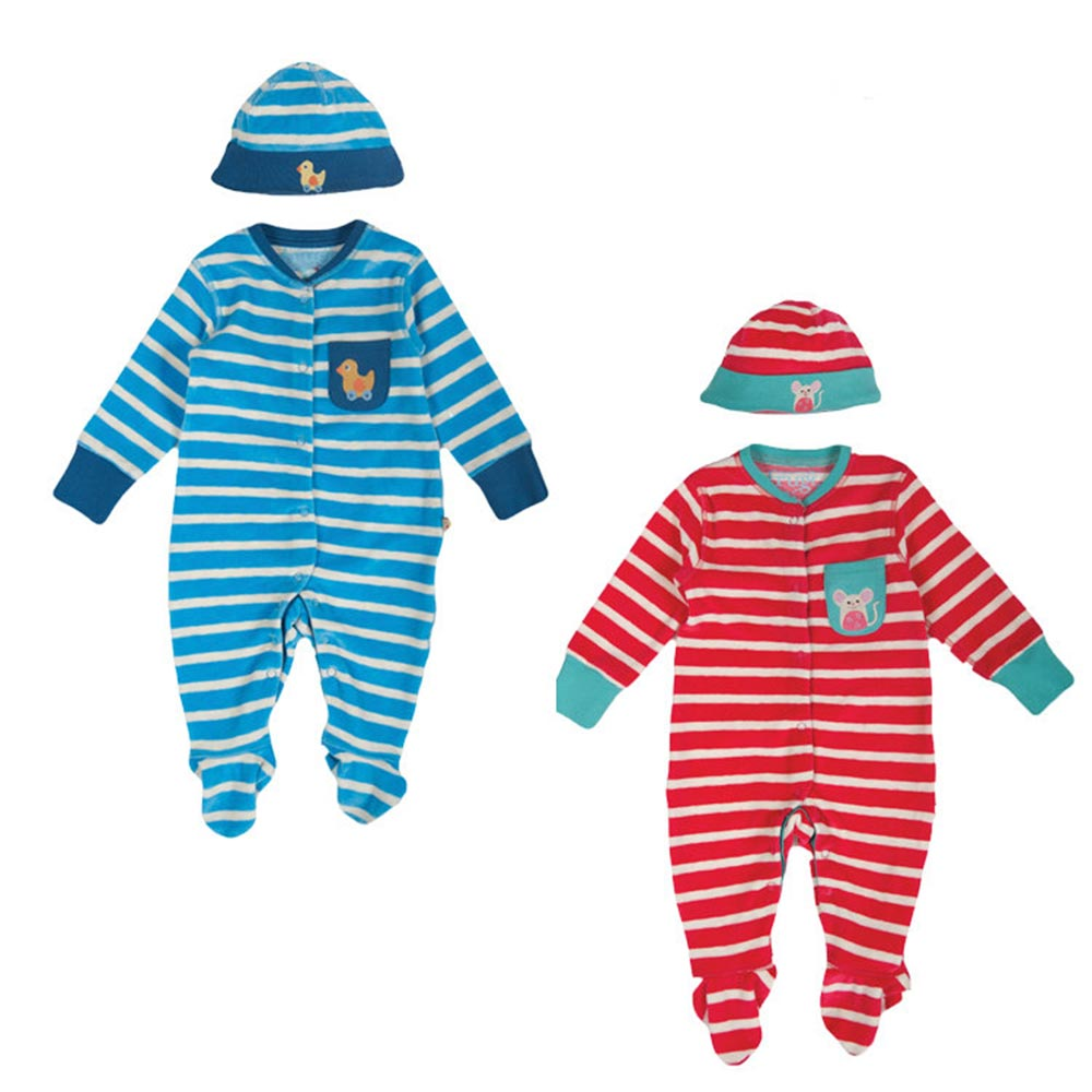 Frugi 有機棉條紋連身睡衣組