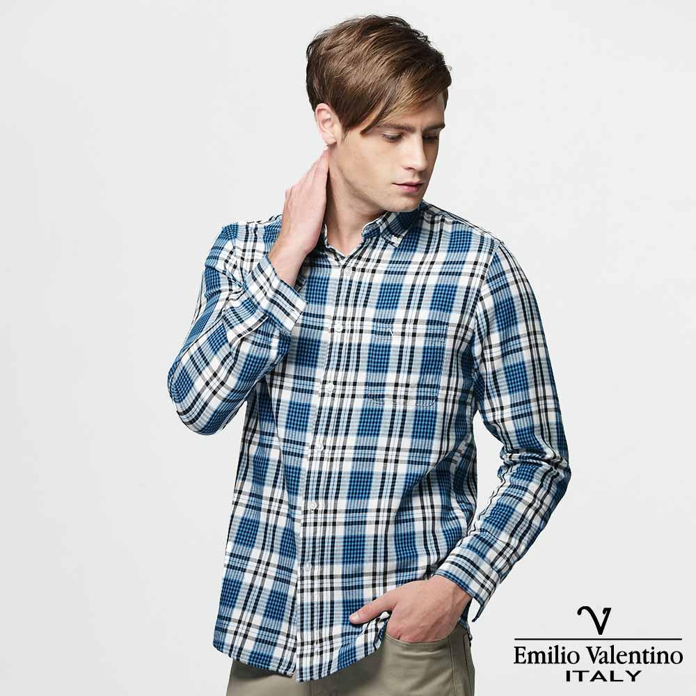 Emilio Valentino 范倫提諾水洗格紋襯衫-藍