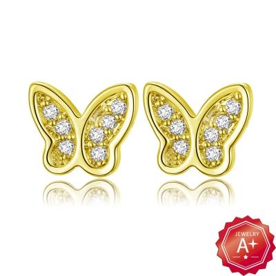 A+黃金 精緻滿鑽小蝴蝶 黃金耳環
