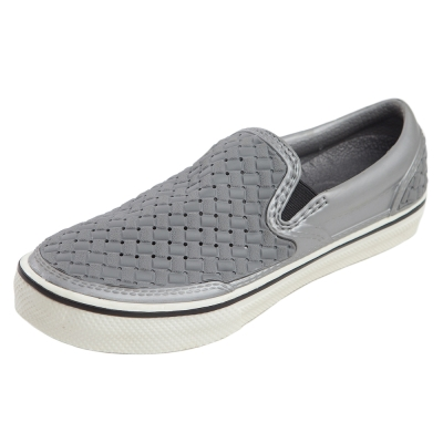 (男/女)Ponic&Co美國加州環保防水編織懶人鞋-銀灰色