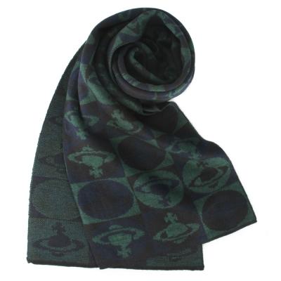 Vivienne Westwood 棋盤格星球羊毛圍巾-綠色