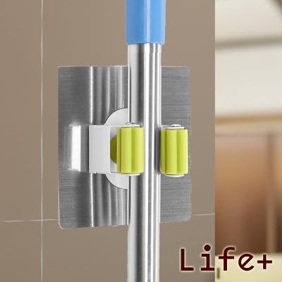 Life Plus 環保無痕魔力貼掛勾-拖把夾.工具夾 (隨機不挑色_4入)