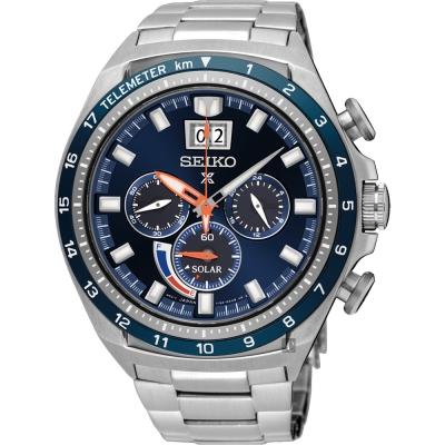 SEIKO精工 Prospex 太陽能大視窗計時手錶(SSC601P1)-藍/45mm