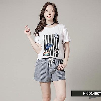 H:CONNECT 韓國品牌 女裝 - 直紋抽繩休閒短褲-藍(快)