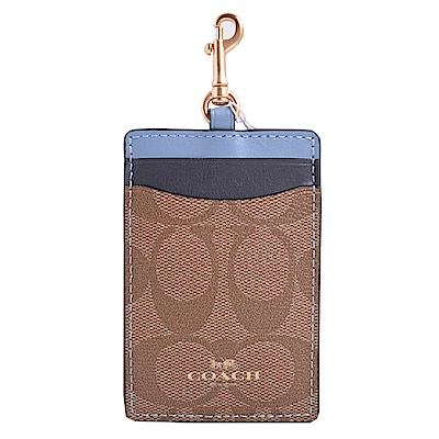 COACH 燙金Logo撞色證件票卡夾-卡其/靛藍