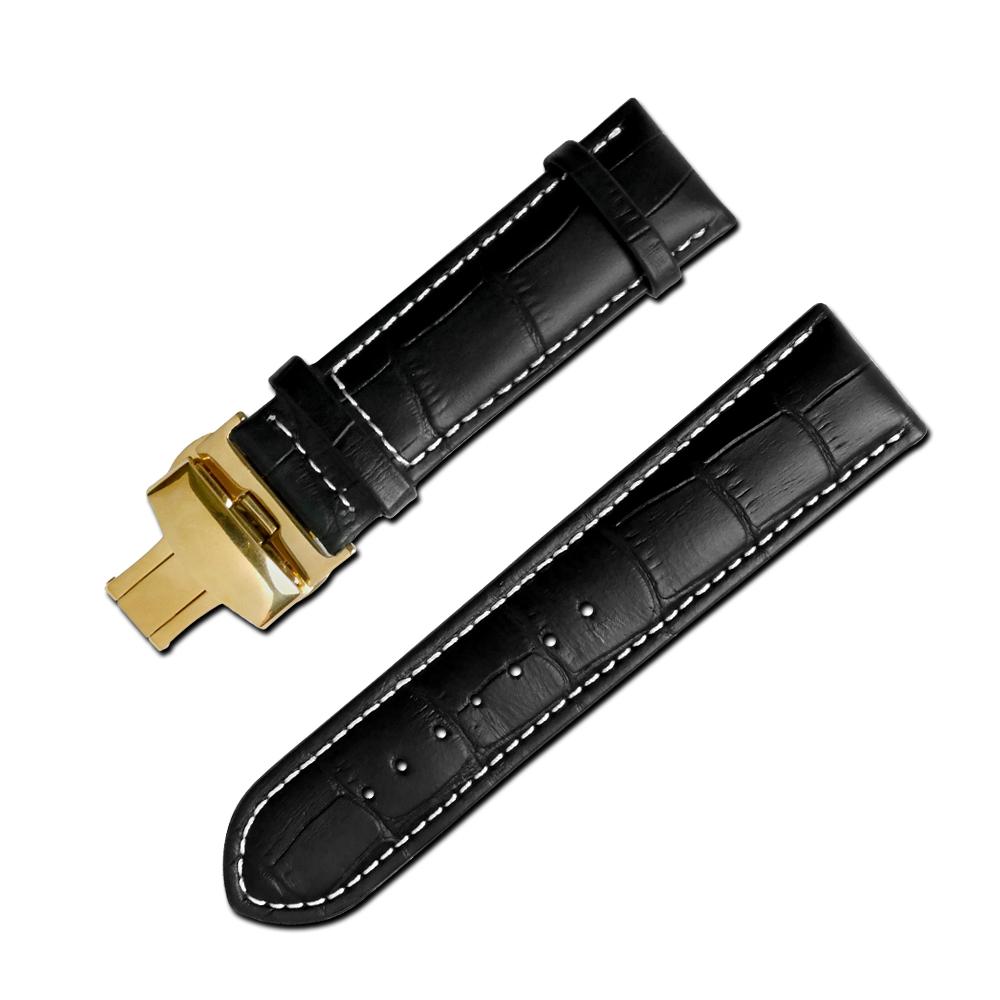 Watchband 經典復刻時尚指標壓紋真皮雙邊壓扣錶帶 黑x白x金扣