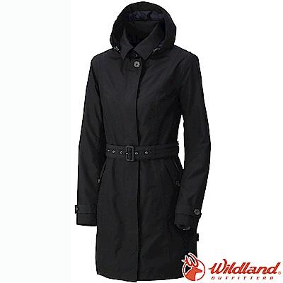 Wildland 荒野 0A52909-54黑色 女 長版防水防風時尚外套