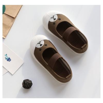 萌萌款卡通四季百搭兒童帆布鞋-咖啡