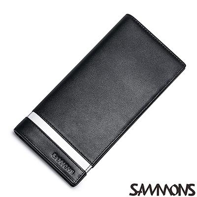 SAMMONS-真皮注目撞色對折長夾-尊爵黑