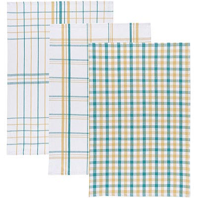 NOW-餐廚布巾3入-黃綠格紋