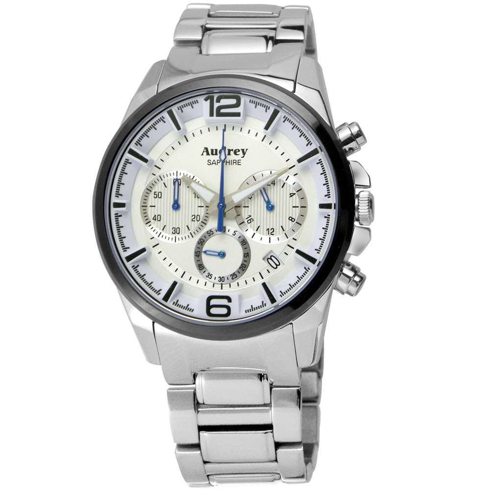 Audrey 歐德利 躍動時尚三眼計時腕錶(AUM5635-A)-白/42mm