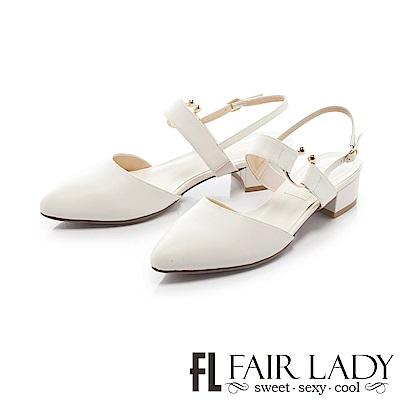 Fair Lady尖頭設計寬版繫帶粗跟涼鞋 白