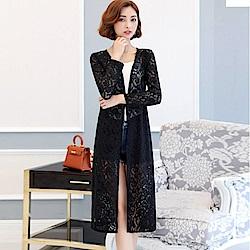 La Belleza蕾絲花朵開衫長版罩衫薄款罩衫外套