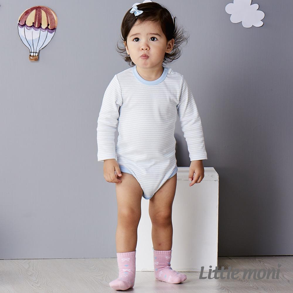 Little moni 純棉家居系列條紋長袖包屁衣 粉紫藍