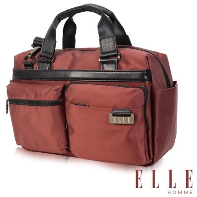 ELLE HOMME時尚火紅搭配皮革大空間多層置物設計防潑水尼龍側背手提兩用旅行款-暗紅
