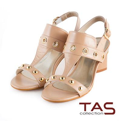 TAS-時尚金屬系小圓釘T字高跟涼鞋-復古卡其
