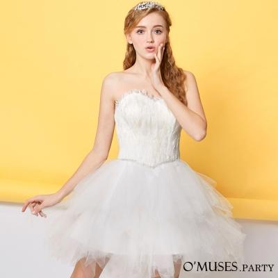 羽毛不規則裙擺婚紗禮服-OMUSES