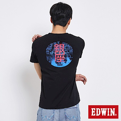 EDWIN 東京系列TOKYO MAP反光短袖T恤-男-黑色