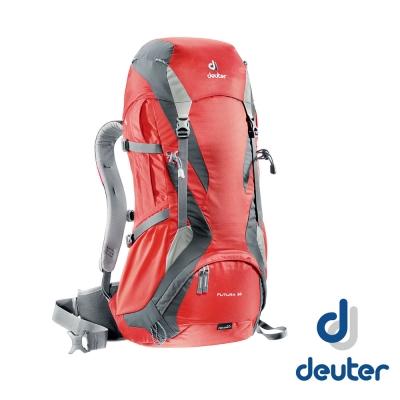 【德國 Deuter】 Futura 32 32L+4L 網架健行登山背包_紅/灰