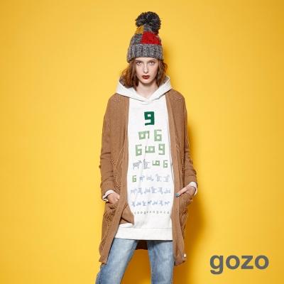 gozo 簡約V領菱格幾何圖騰開襟長版針織外套 (二色)
