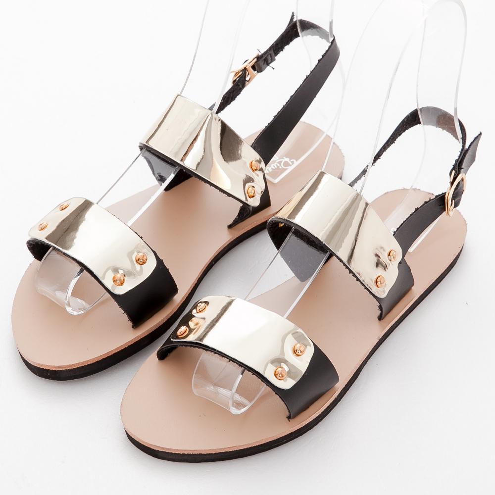 River&Moon一字涼鞋-加大尺碼Q軟皮質金帶平底涼鞋-黑系