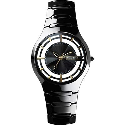 RELAX TIME RT57 優雅鏤空陶瓷腕錶~黑x金時標 37mm