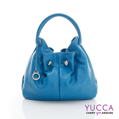 YUCCA - 經典優雅立體球型包-藍色 D012824