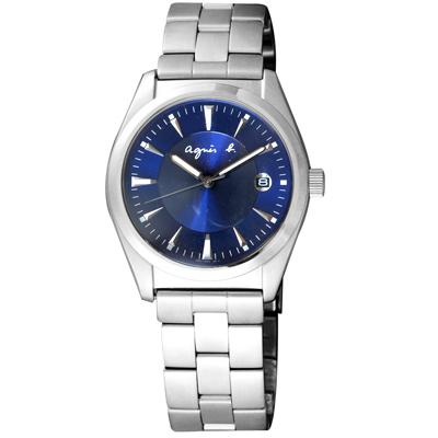 agnes b. 紳士品格 大三針時尚腕錶(7N32-0BM0D)-銀X藍/35mm