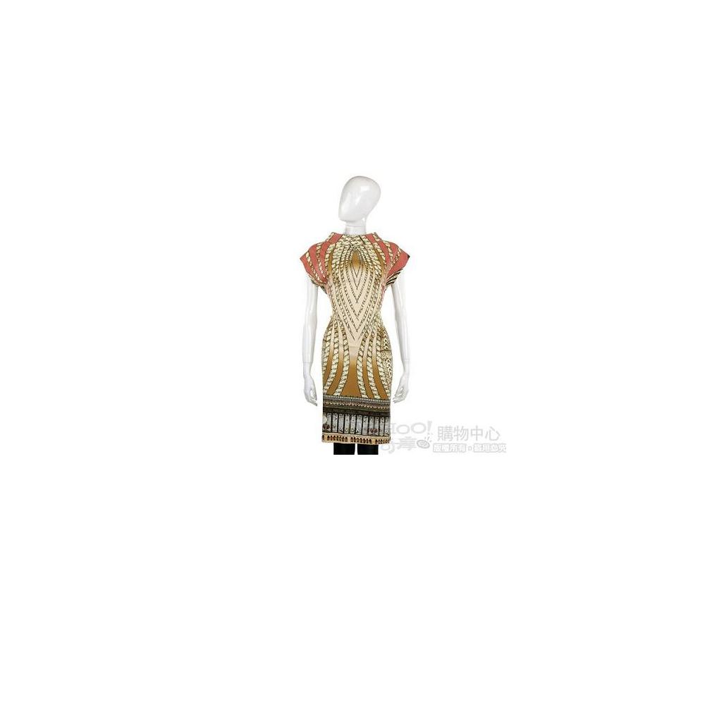 CLASS roberto cavalli 米色緞質彩繪圖騰短袖洋裝