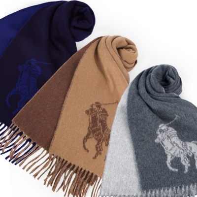 RALPH LAUREN POLO 經典大馬LOGO羊毛圍巾(6色)均一價2780