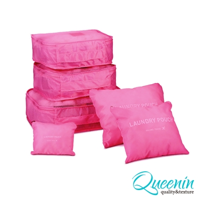 DF Queenin日韓 - 韓版6件式旅行收納袋-玫紅