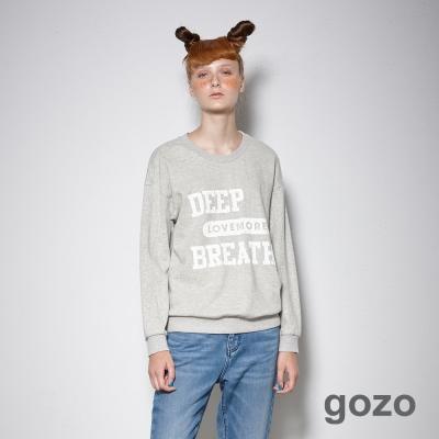 gozo-運動風經典標語造型長袖上衣-二色