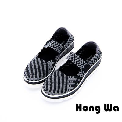 Hong Wa - 樂活休閒編織布械型彈力軟鞋 - 黑