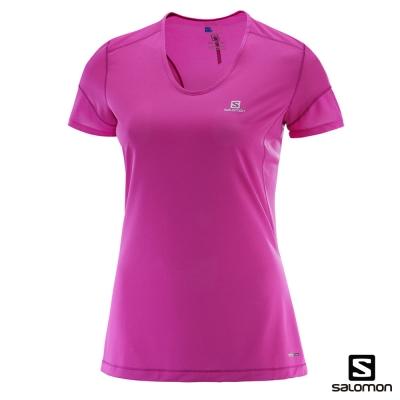 Salomon 吸濕快排 短袖T恤 女 TRAIL RUNNER 紫紅