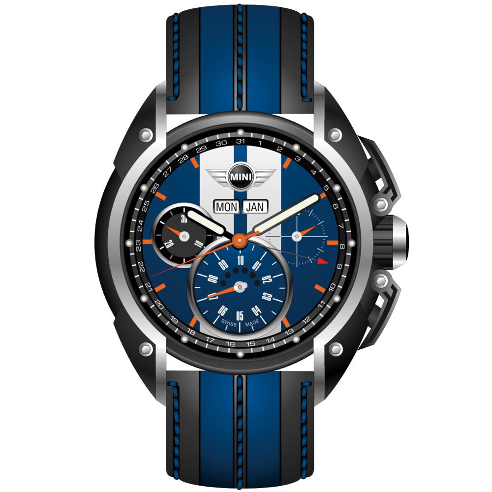 MINI Swiss Watches 熱血剽悍三眼計時腕錶-藍x黑框-45mm