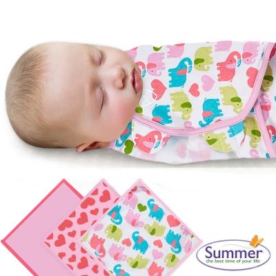 美國 Summer Infant 嬰兒包巾, 純棉3入(甜心小象)
