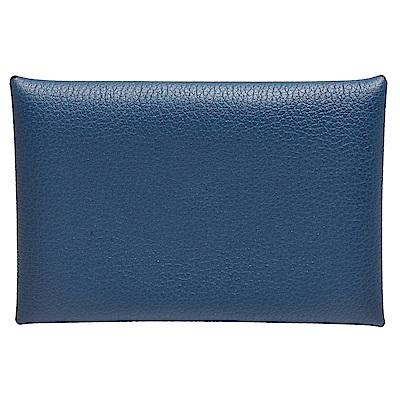 HERMES 經典Calvi系列小牛皮雙色折疊暗釦名片/零錢包(瑪瑙藍X橘)