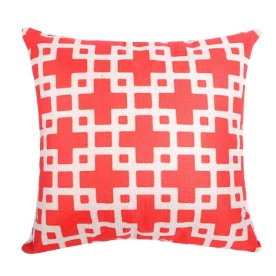 幾何原創 棉麻舒適方型抱枕.靠枕 (紅格子)