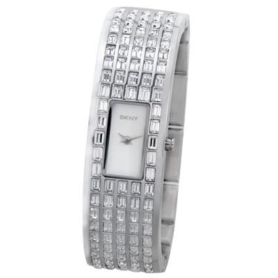DKNY 奢華風潮晶鑽手鐲腕錶-銀/16mm