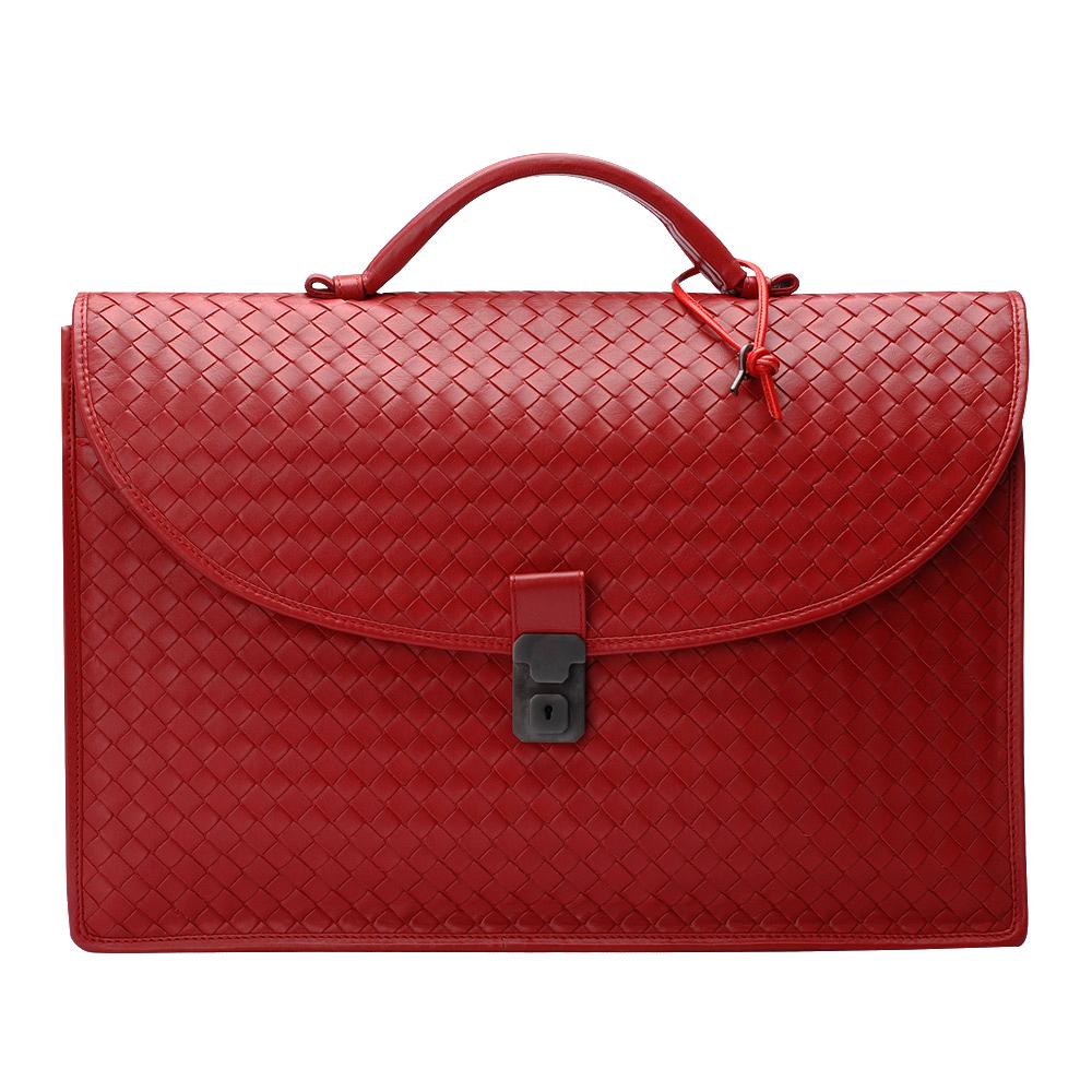 BOTTEGA VENETA 經典編織小牛皮方型鎖釦手提公事包(大-亮紅色)