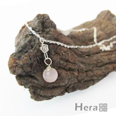Hera 925純銀手作天然粉晶花朵項鍊/鎖骨鍊