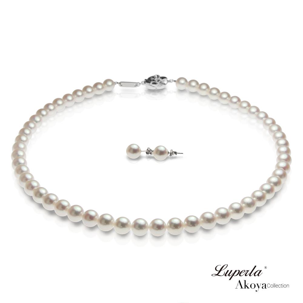 大東山珠寶 日本Akoya海水珍珠系列項鍊耳環套組- 純潔與永恆7.5-8mm